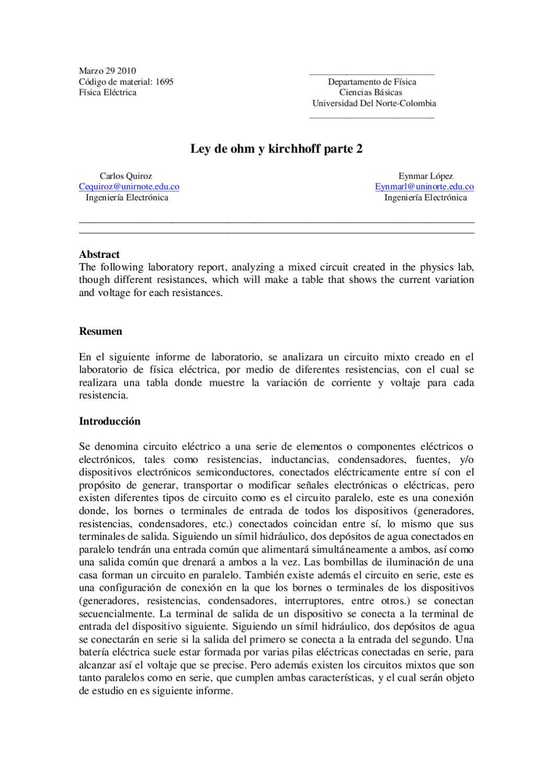 Circuito Hidraulico Mixto : Laboratorio 4 ley de ohm y kirchhoff parte 2 by carlos quiroz issuu