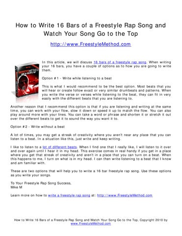 how to write 16 bars of a freestyle rap song and watch your song go