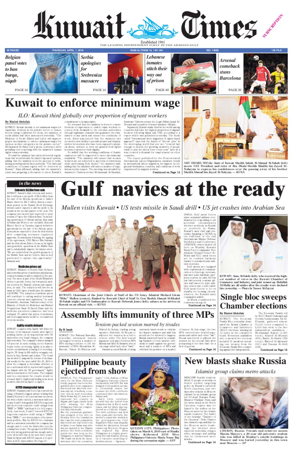 1 April by Kuwait Times - issuu