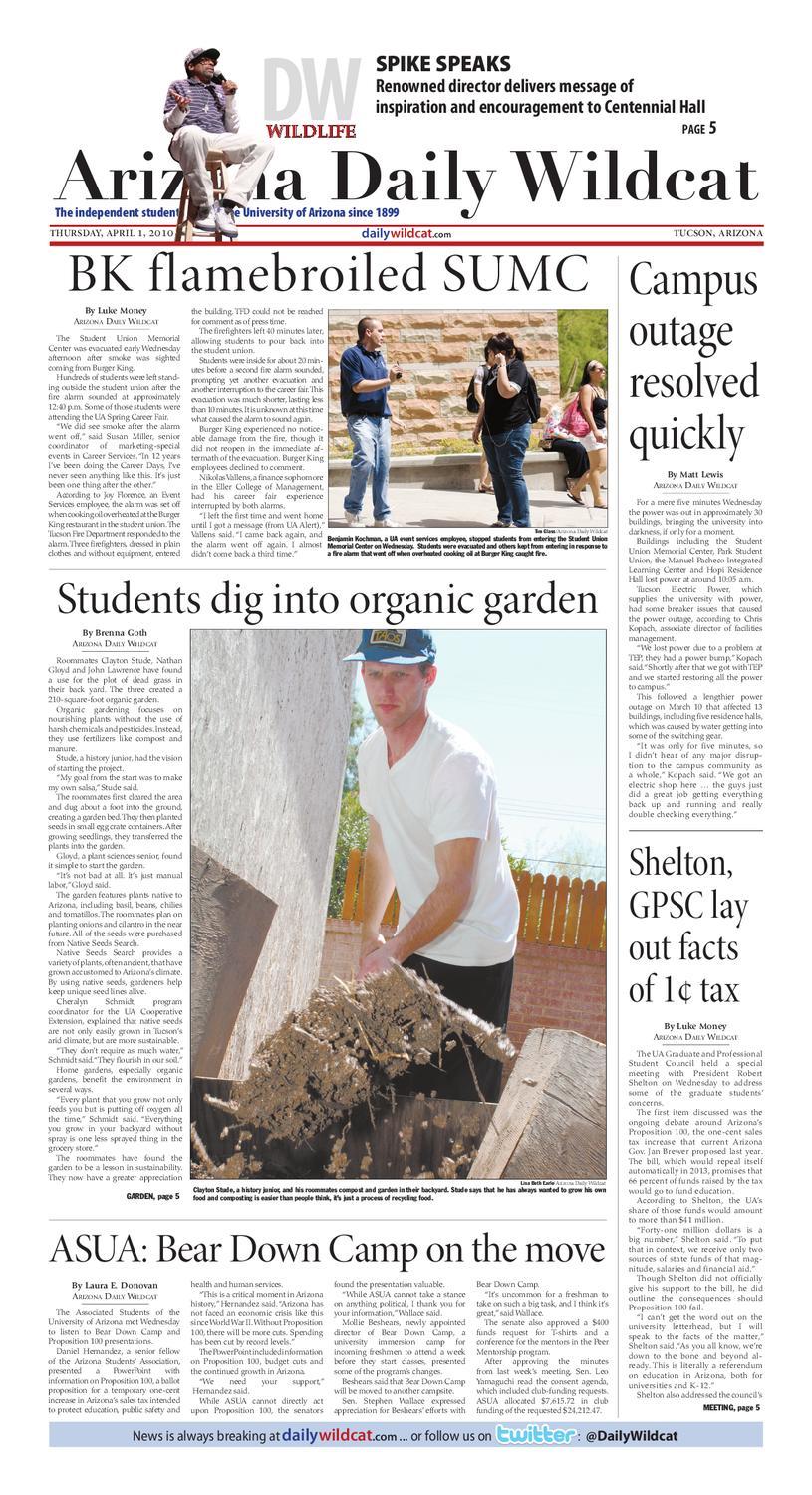 Arizona Daily Wildcat — April 1, 2010 by Arizona Daily Wildcat - issuu