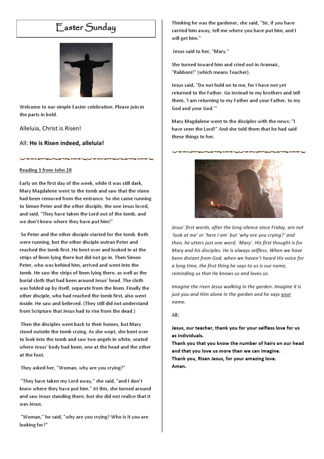 A simple Easter Sunday liturgy by Bryony Taylor - issuu