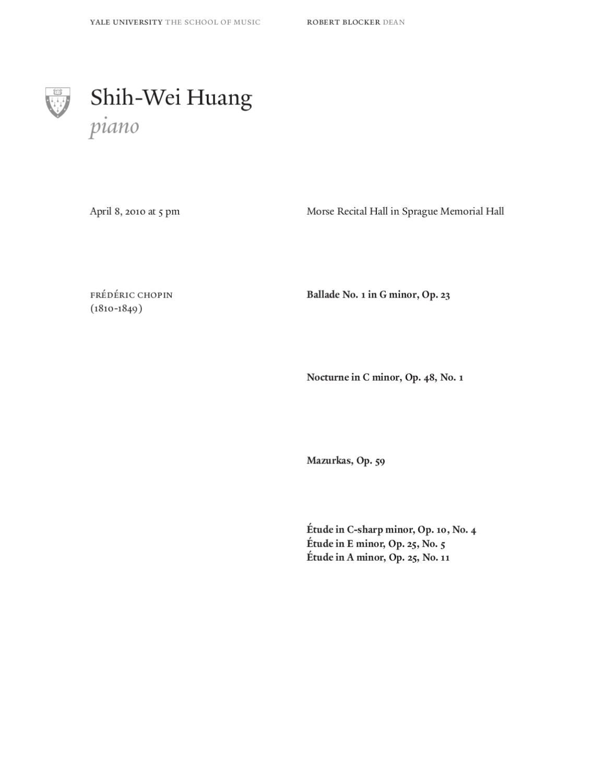 Shih-Wei Huang, piano by Yale School of Music - issuu