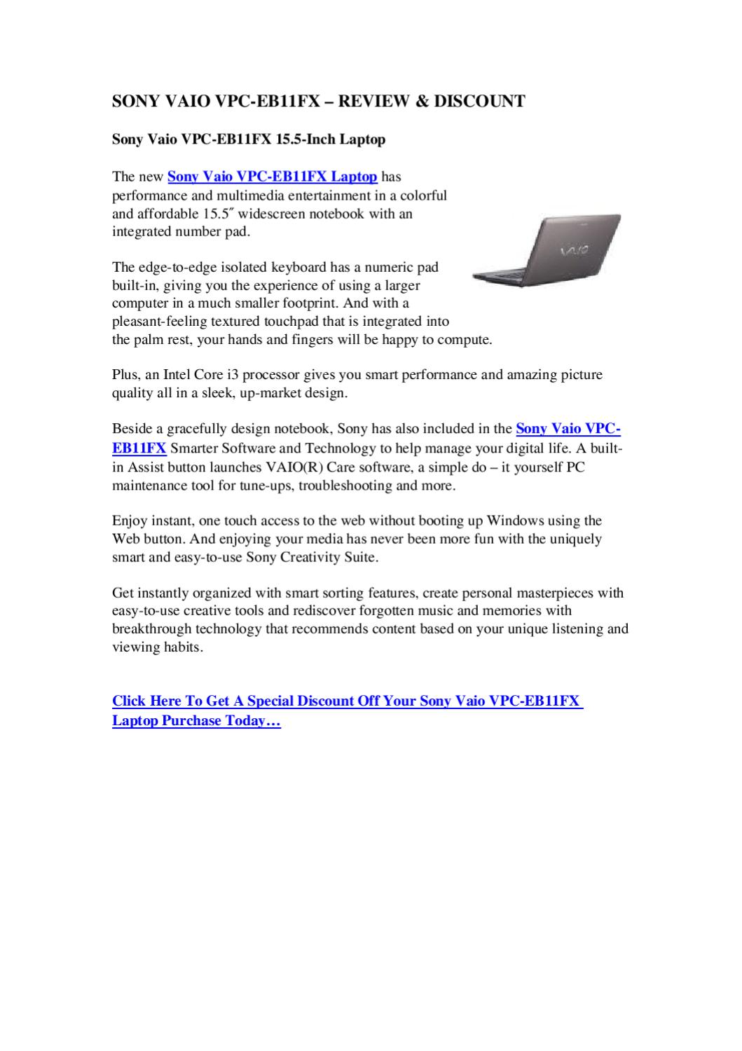 Sony vaio vpc eb11fx review discount the best laptop reviews sony vaio vpc eb11fx review discount the best laptop reviews by lindsay gordon issuu solutioingenieria Images