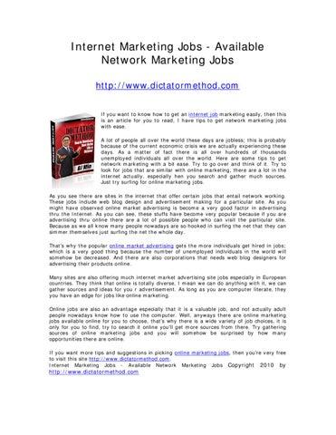Internet Marketing Jobs - Available Network Marketing Jobs