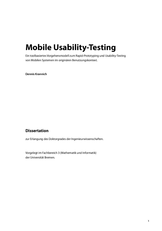 Mobile Usability-Testing by Dennis Krannich - issuu