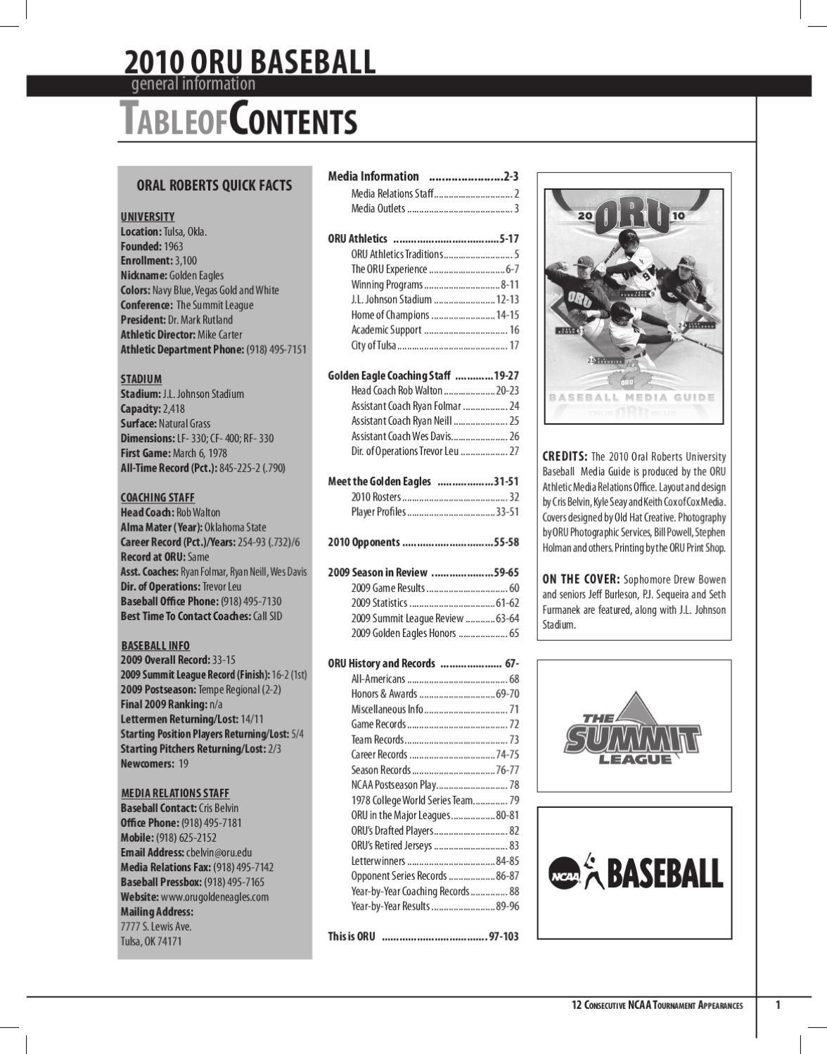 2010 ORU Baseball Media Guide by ORU Athletics - issuu ea9f8c3b576a5