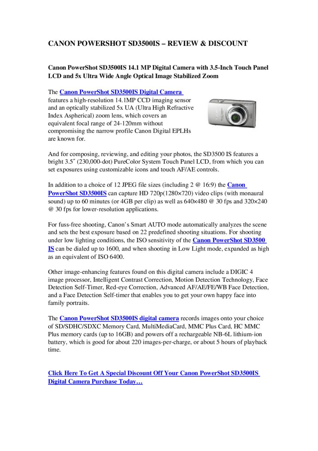 Canon PowerShot SD3500IS - Review & Discount | Best Digital Cameras