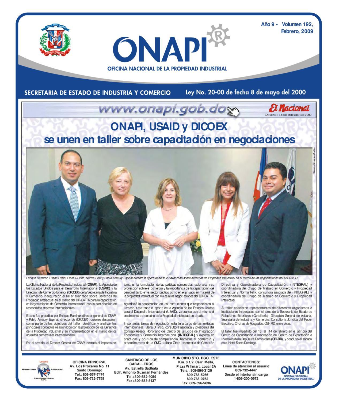 Onapi15feb091 by oficina nacional de la propiedad for Oficina nacional de fiscalidad internacional
