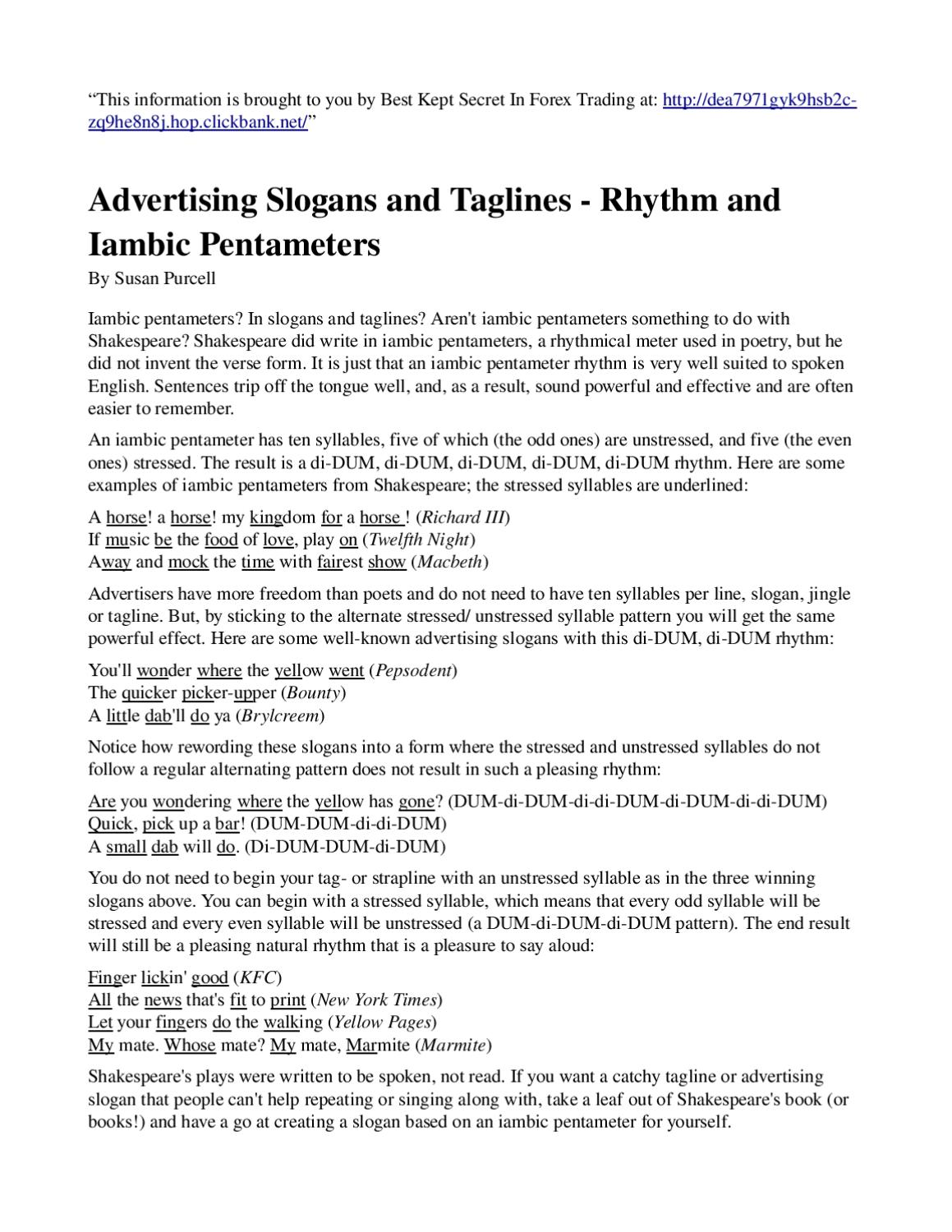 Advertising Slogans And Taglines Rhythm And Iambic Pentameters By