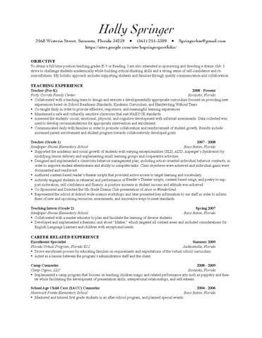 holly springer 2010 teacher resume with site by holly springer issuu