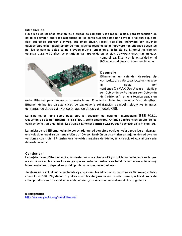 Ensayo Tarjeta de Red Ethernet by hugo avila - issuu