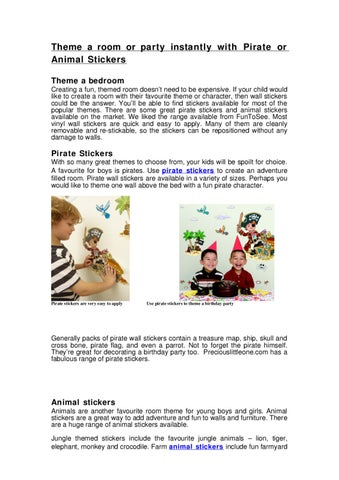 Theme a room or party instantly with Pirate or Animal Stickers by