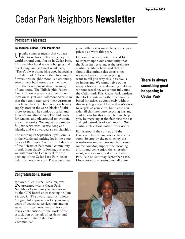 CPN Newsletter 09-08 by Cedar Park Neighbors - issuu