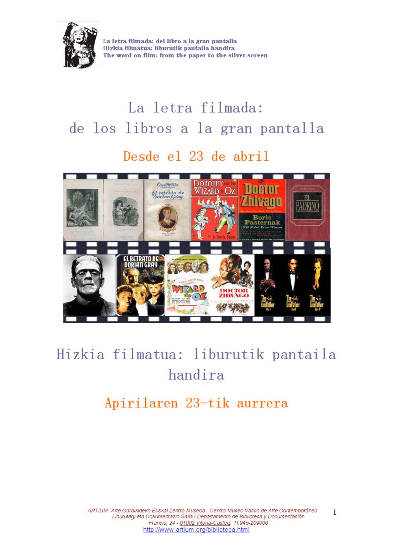 La letra filmada  del libro a la gran pantalla - Exposición bibliográfica  by ARTIUM Vitoria artium - issuu 52bb9f6d0dab7