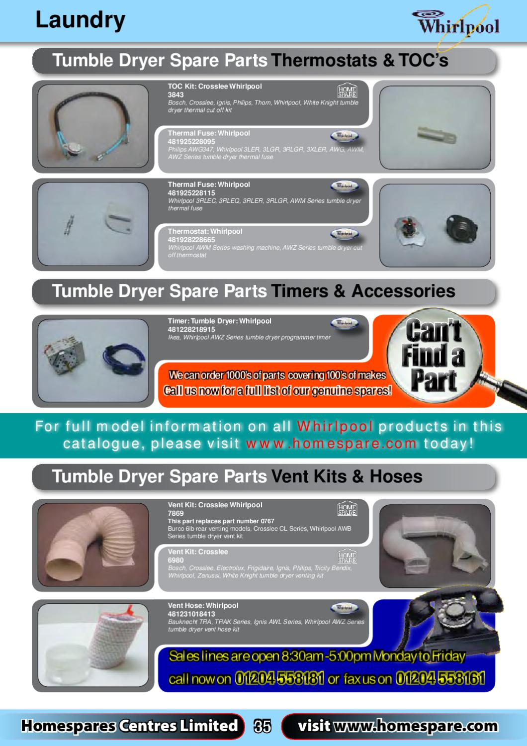 White Knight Tumble Dryer Spare Parts Manual
