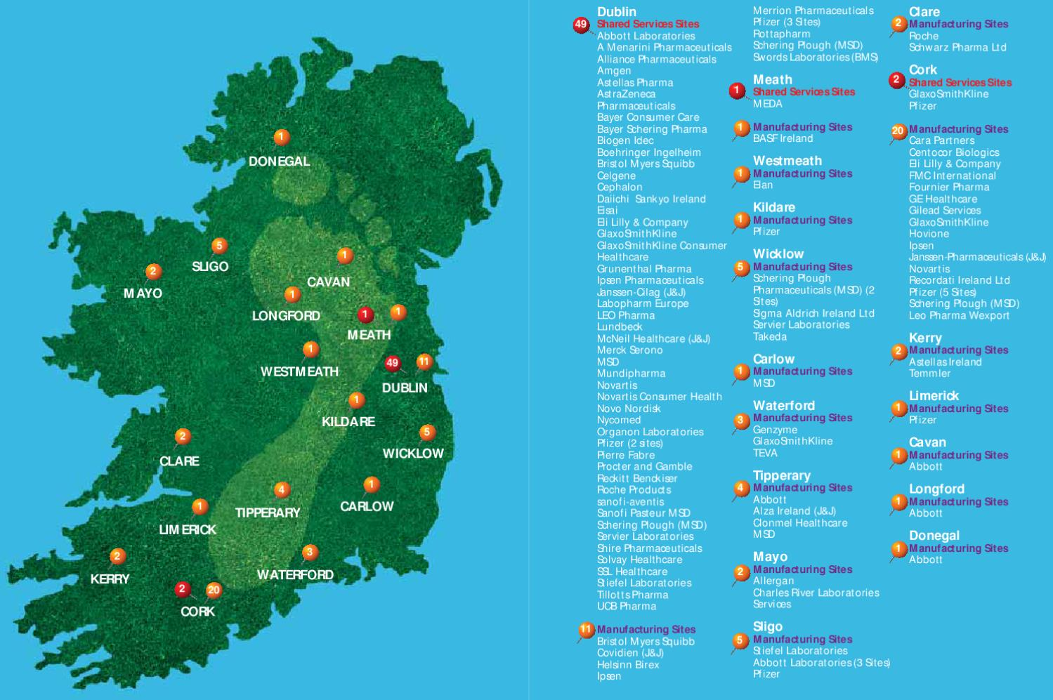 Map of Pharmaceutical Industry Locations in Ireland by Irish