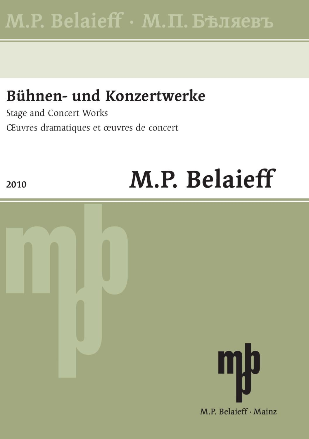 M.P. Belaieff   Stage and Concert Works by Schott Music   issuu