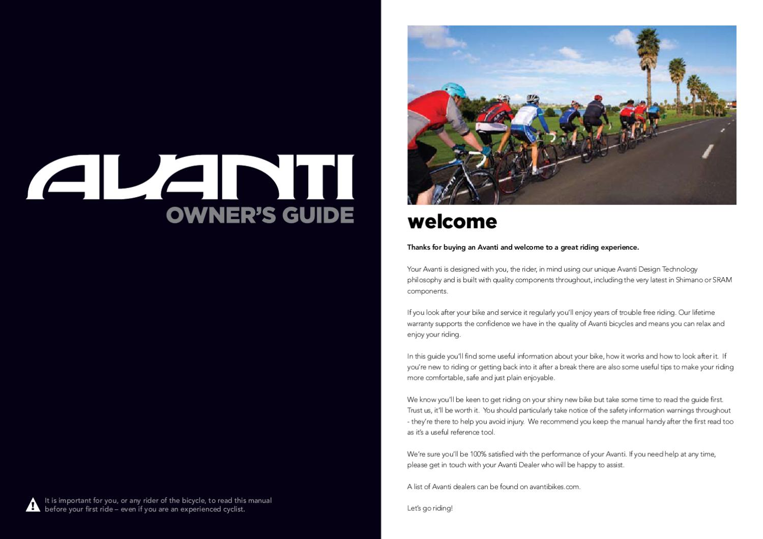 Avanti Bikes Owners Manual by AvantiPlus Cycles - issuu
