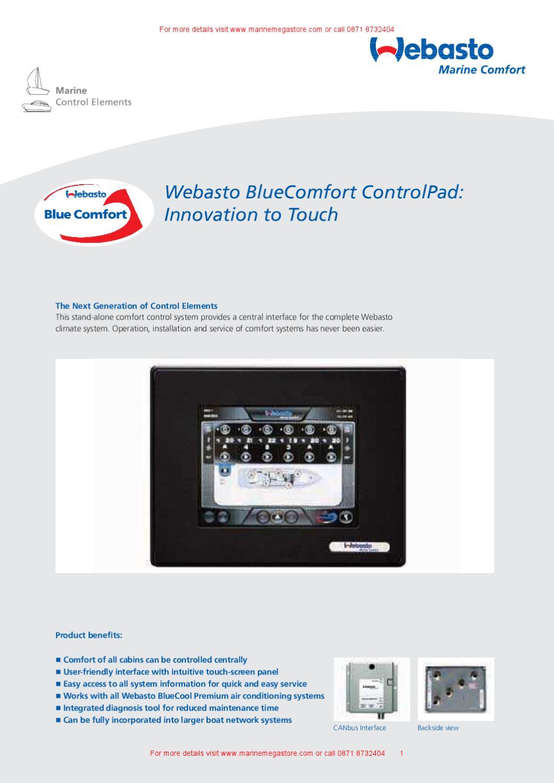 Webasto Marine Comfort-Datasheet BlueComfort ControlPad by