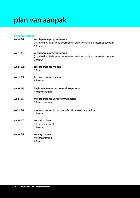 plan van aanpak verslag Wiskunde PO programmeren   verslag by Mitchell Mac Lean   issuu plan van aanpak verslag