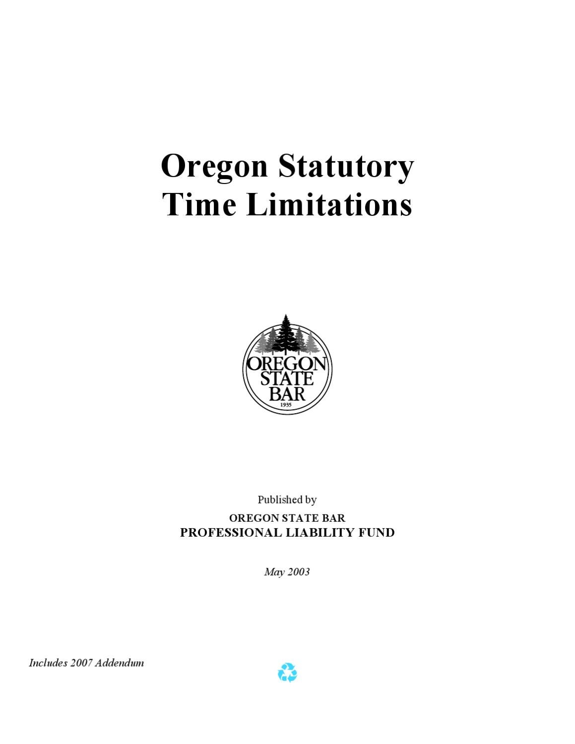Oregon Statutory Time Limitations Handbook: The Red Book by Jerry ...