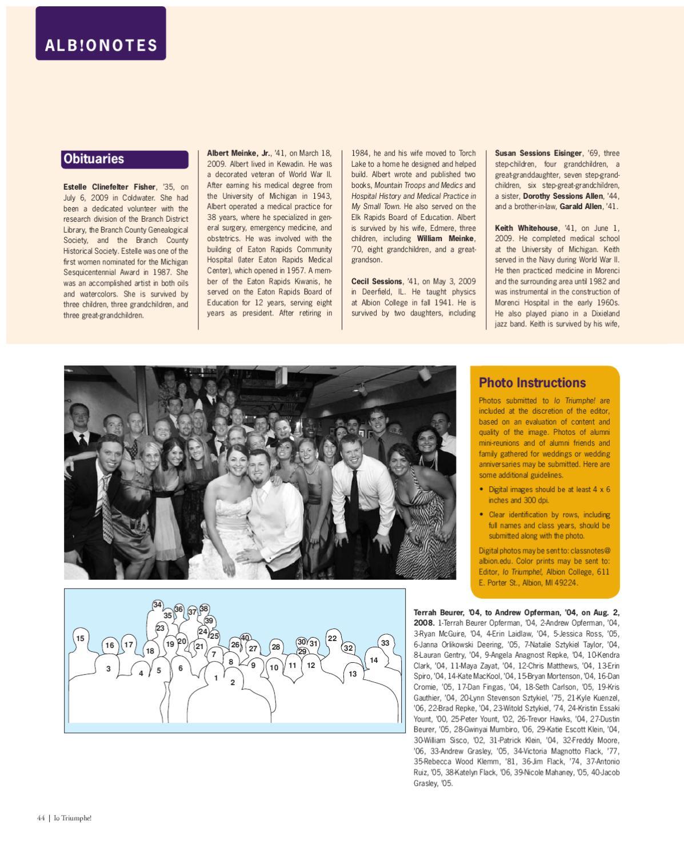 Io Triumphe! The magazine for alumni and friends of Albion