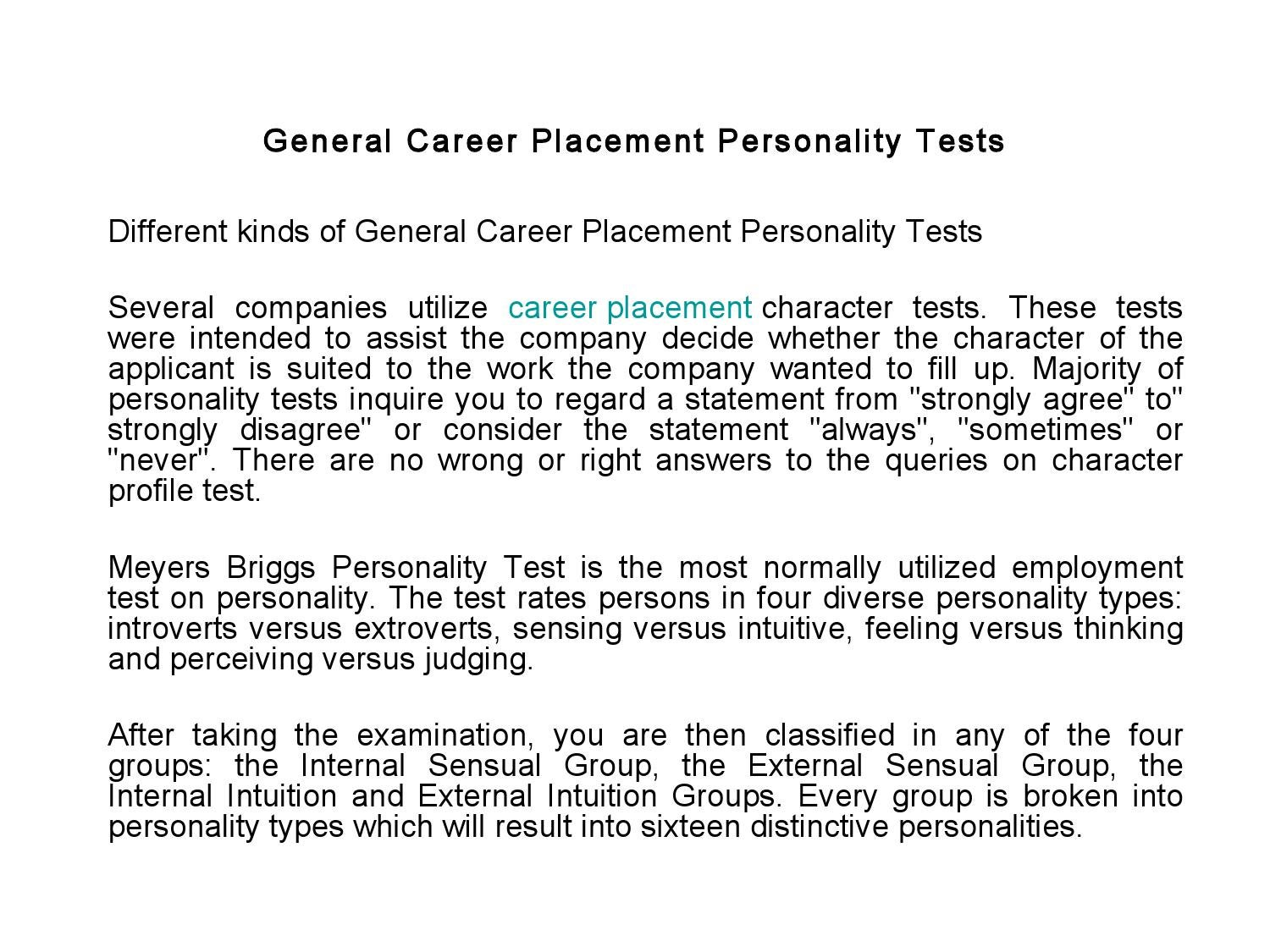 General Career Placement Personality Tests by crystal cane