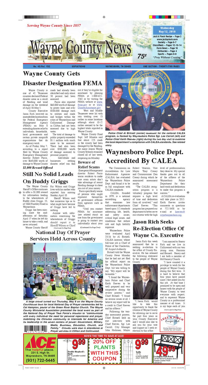 Wayne County News 05-12-10 by Chester County Independent - issuu