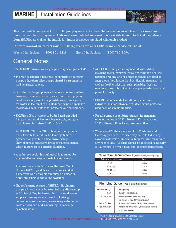 Shurflo - Drill Pump installation guidelines