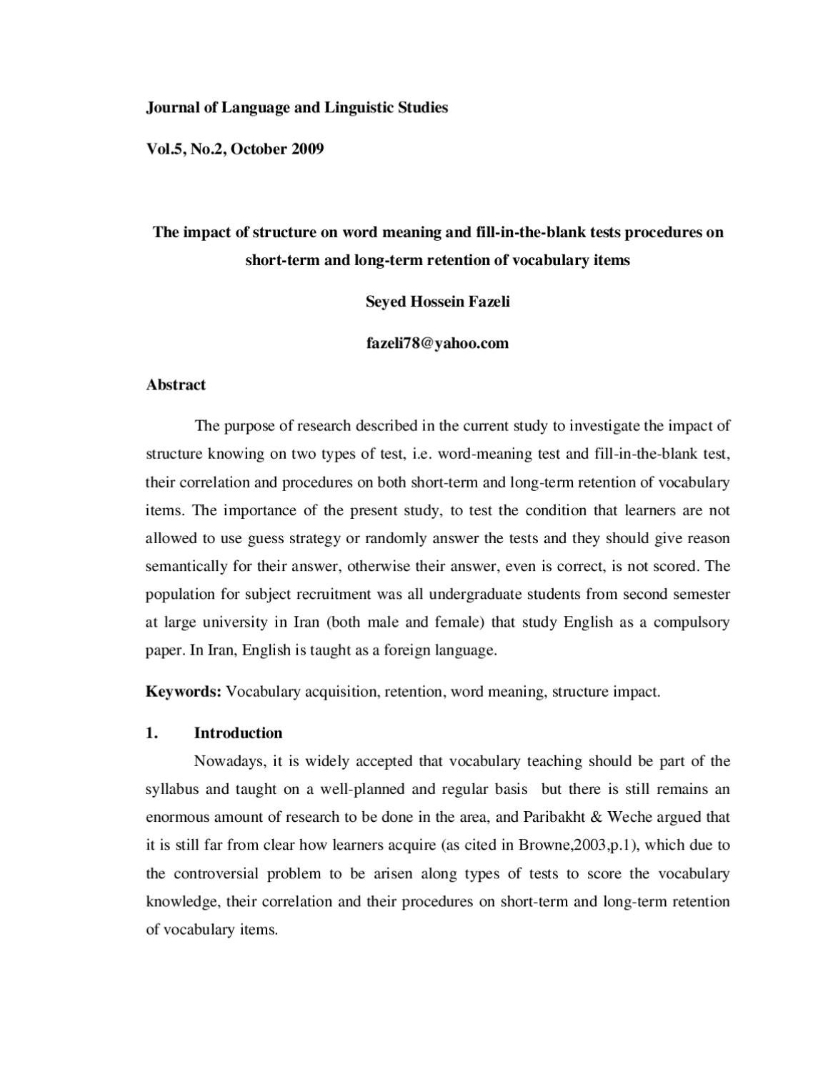 The impact of structure on word meaning and fill-in-the-blank tests  procedures