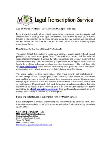 Legal Transcription - Security and Confidentiality by MOS