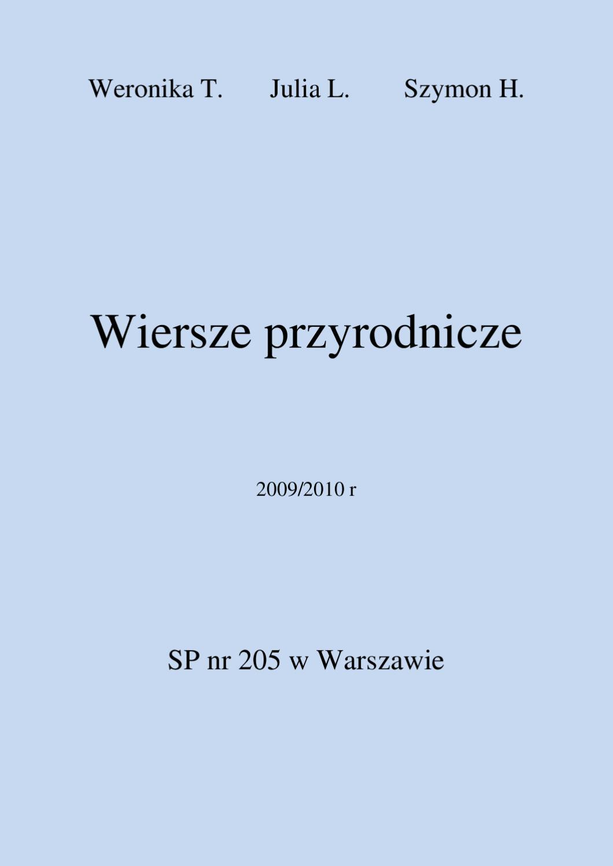 Wiersze Weroniki Julii Szymka By Joanna Joanna Issuu