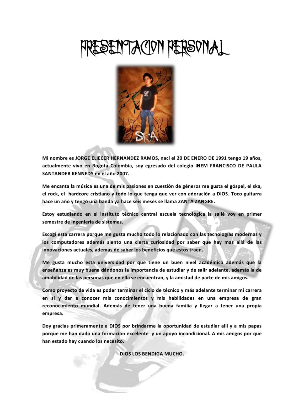 Presentacion personal escrita by jorge eliecer issuu for Que oficina del inem me corresponde