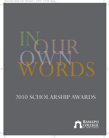 c96c74c8e6 In Our Own Words - 2010 Scholarship Awards by Ramapo College - issuu