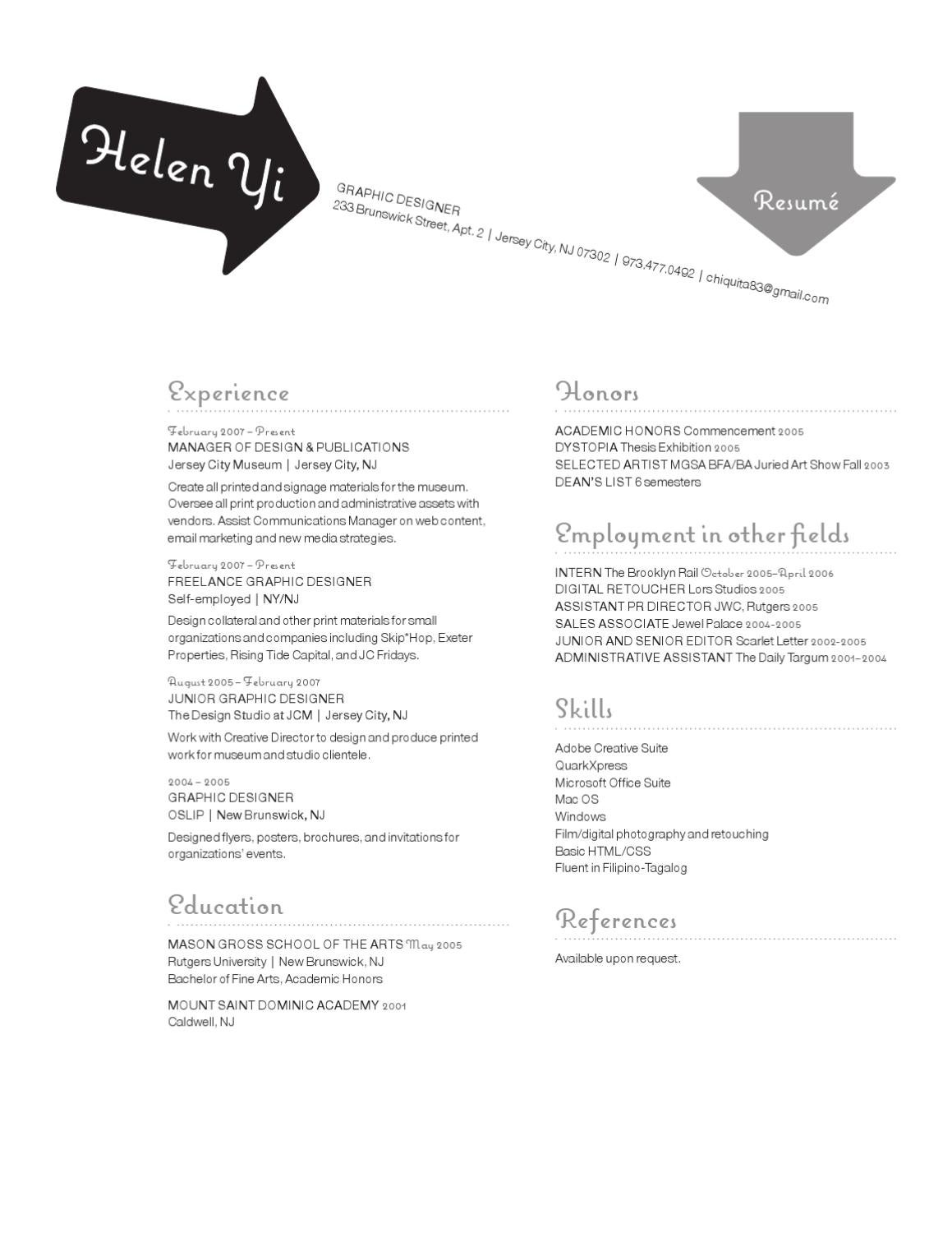 helen yi resume and samples by helenmarie yi