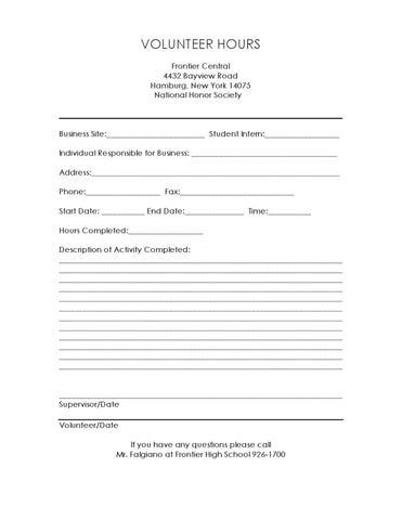 FHS National Honor Society Community Sevice Form by Andrea ...