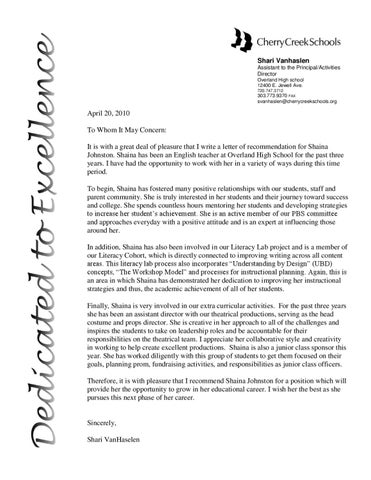 Letter Of Rec From Assistant Principal
