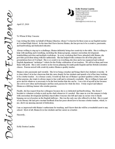 Letter Of Rec From Department Head