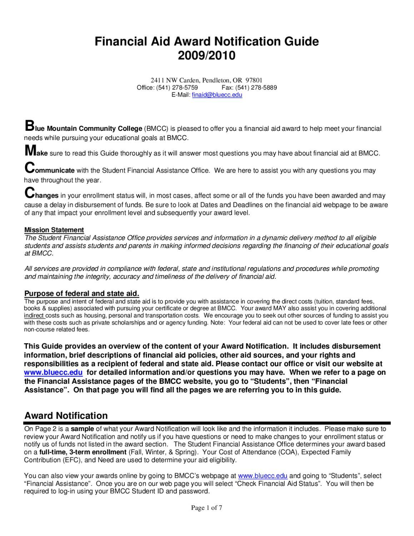 BMCC 2009-10 Financial Aid Award Notification Guide (FANG