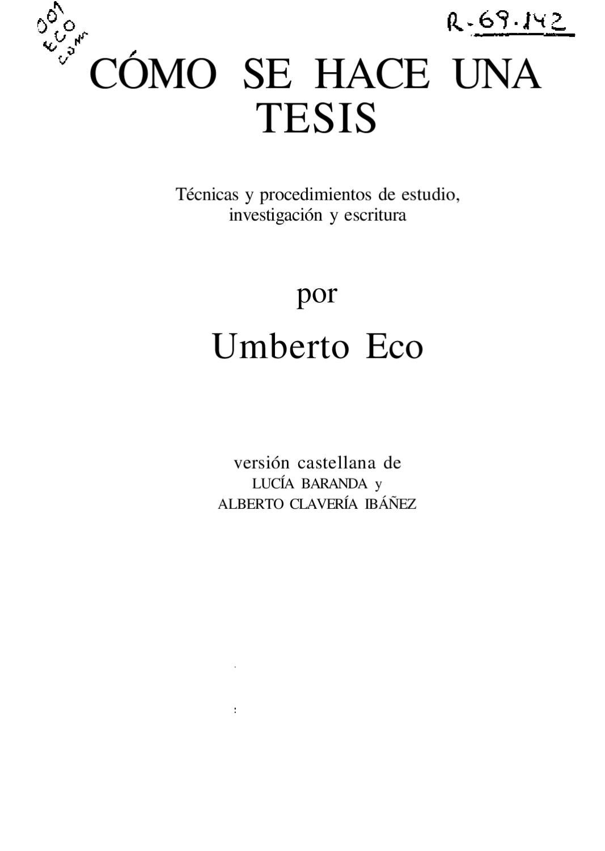 Como Se Hace Una Tesis Umberto Eco By Arkitectura Negra