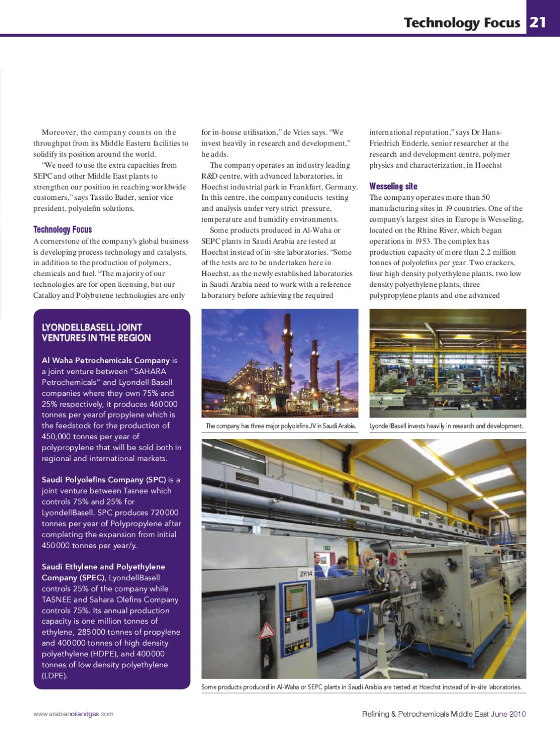 Refining & Petrochemicals Middle East - June 2010 by ITP