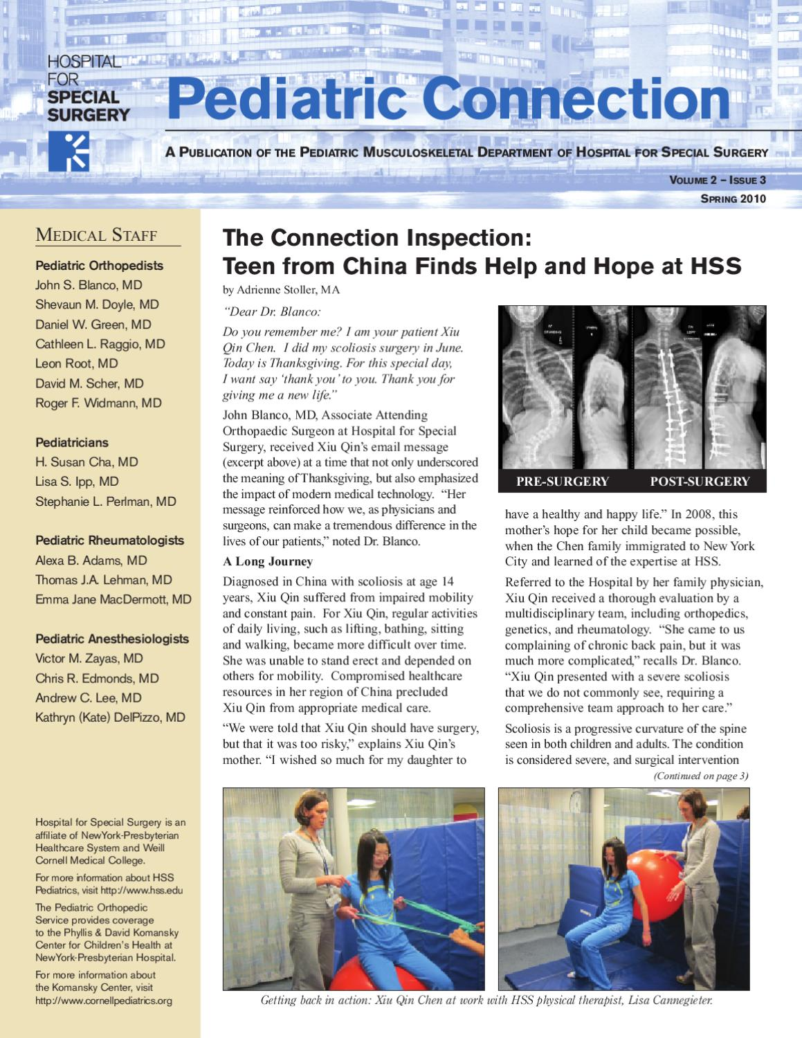 Spring 2010 HSS Pediatric Connection, Vol  2 Issue 3 by Hospital for