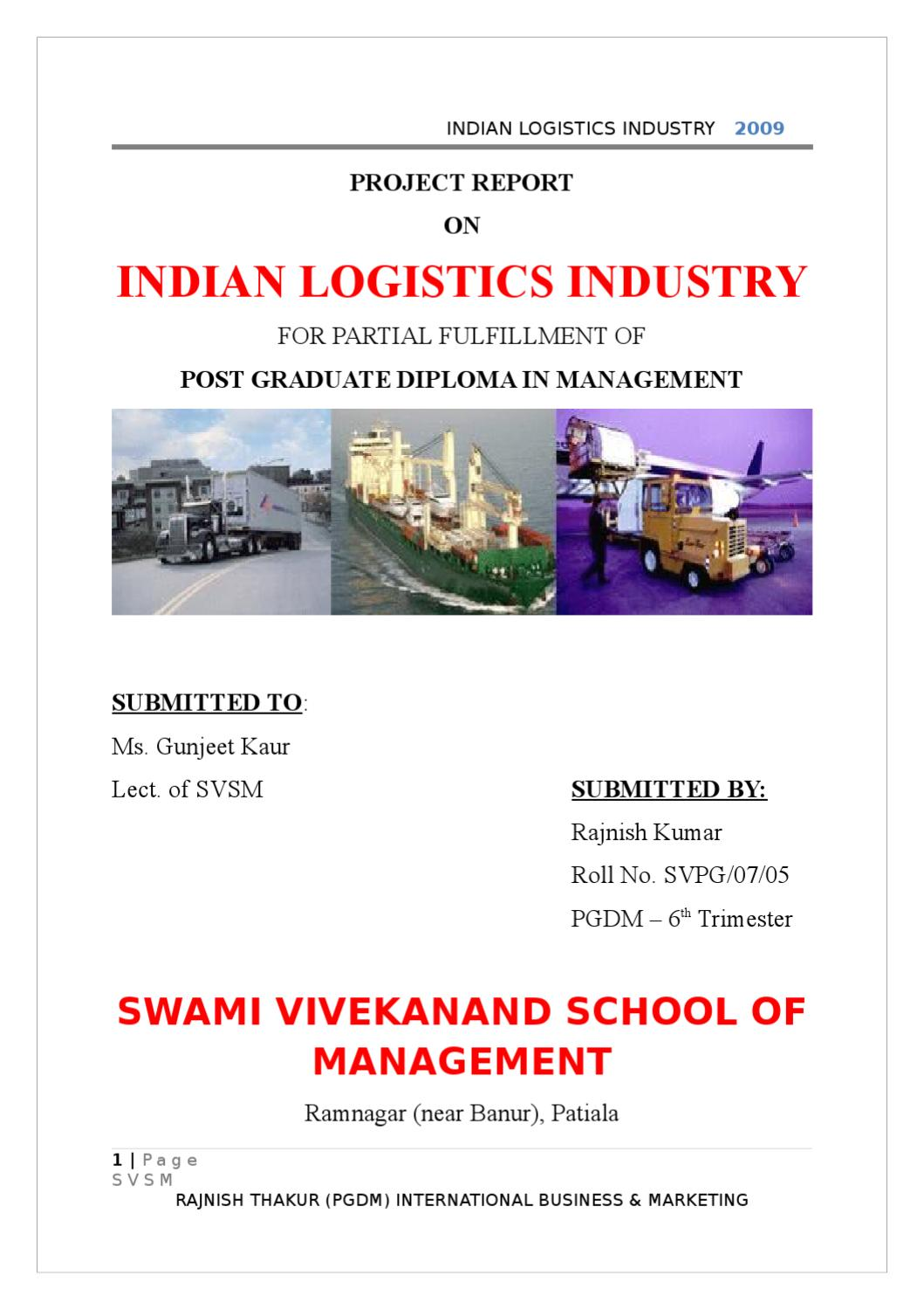PROJECT REPORT ON INDIAN LOGISTICS INDUSTRY by Sanjay Gupta