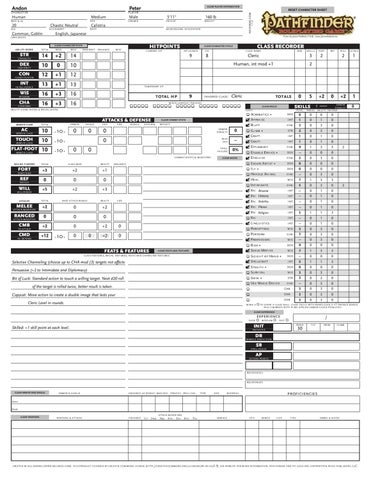 Andon's Pathfinder Character Sheet by Daniel Resnick - issuu