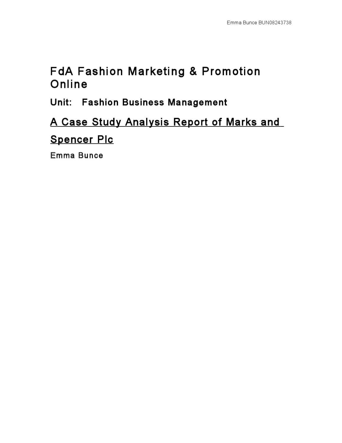 A Case Study Analysis Report of Marks and Spencer Plc by Emma Bunce ...