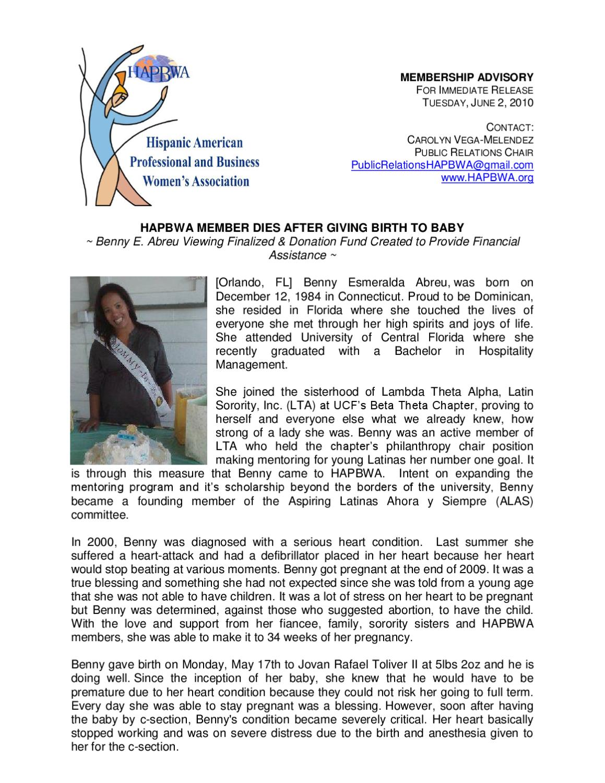 6-2-10 Benny Abreu Donation Fund by Carolyn Vega-Melendez