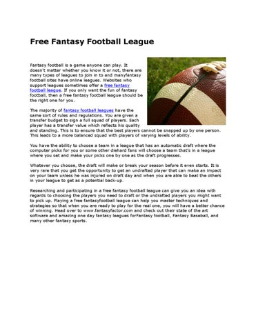 the benefits of my fantasy football league essay As benjamin demott put it in a famous 1996 essay for the out of your dining room or your fantasy football league how to engage a fanatic.