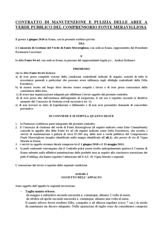Contratto di manutenzione e pulizia delle aree a verde for Preventivo impianto irrigazione