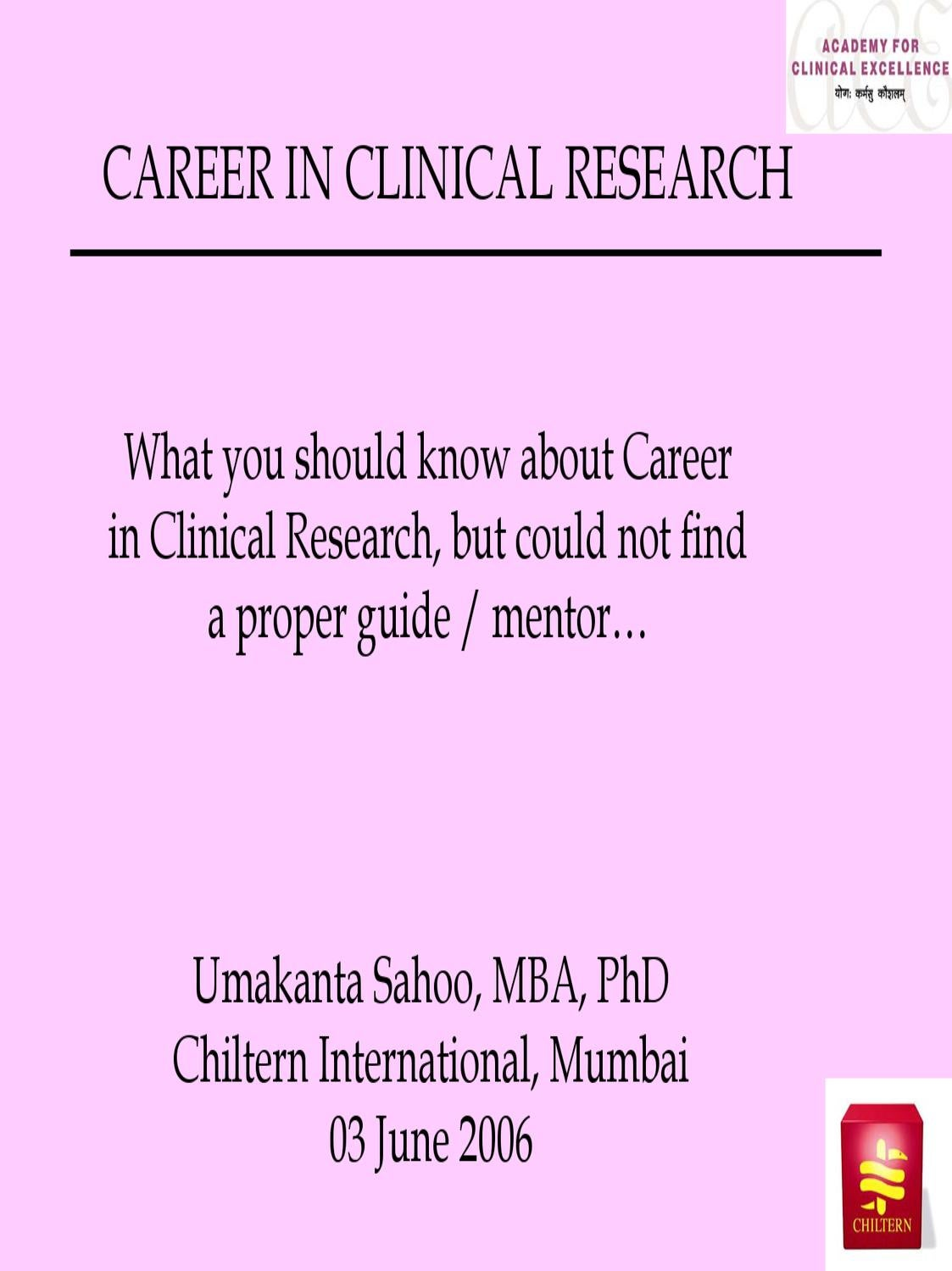 careers in clinical research by Pharma Student - issuu