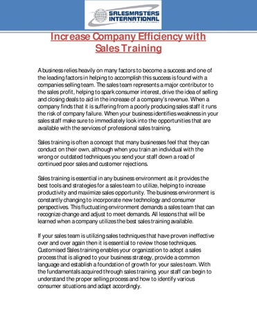 Increase Company Efficiency with Sales Training by Peter